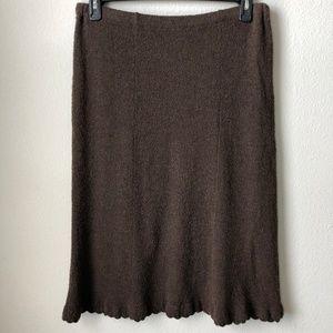 J. Jill Brown Merino Wool Midi Skirt